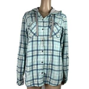 Columbia Times Two Hooded Shirt Button Front Blue